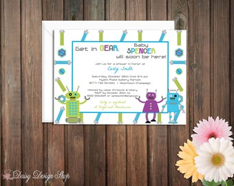 Baby Shower Invitation - Robots with Gears and Screws
