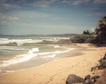 CARIBBEAN Beach Fine Art Photography, PUERTO RICO, Pick Your Size Print, Luquillo Beach, Muted Blues Greens Grey, Ocean, Coastal,