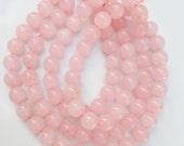 8mm Pink quartz  round beads ,  Rose quartz , full strand