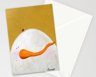Peeking Snowman Brandon - Folk Art Winter Christmas Card w/ Snowman