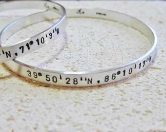 Latitude Longitude Solid Sterling Silver Bangle Bracelet Personalized Inside & Outside CUSTOM MADE in Your Size
