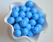 20mm Blue Solid Chunky Beads