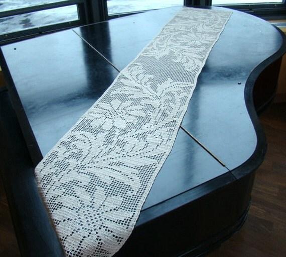 Crocheted flower table runner, piano dresser crochet scarf