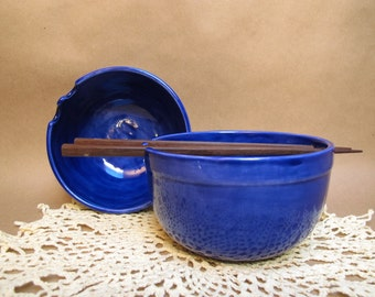 Royal Blue rice or noodle bowl (with chopsticks)