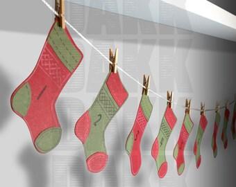 Holiday Christmas Stocking SVG and PNG Files