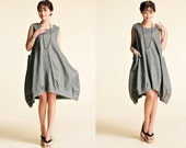 Tulip / Free Style Flower Bud Linen Summer Dress with Big Pockets/ 20 Colors/ RAMIES