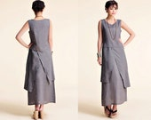 Plum Blossoms/ Asian- style Linen Long Dress with its Skirt in Two Layers/ 21 Colors/ RAMIES