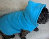 French Bulldog Turquoise Aqua  Fleece Hoodie