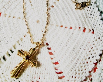Vintage AVON CROSS NECKLACE, Gorgeous Golden Finish & Chain, Ruby Center, Super Birthstone Gift, Quality Made, Delicate Sparkling Chain