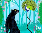 The Peacock and The Panther -  childrens animal art print - iOTA iLLUSTRATiON