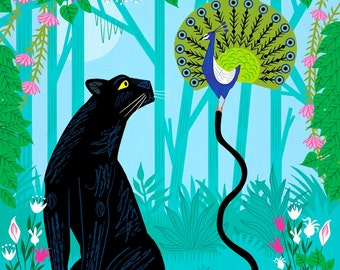 The Peacock and The Panther - nature wildlife - poster print - childrens - animal friendship - art prints by Oliver Lake - iOTA iLLUSTRATiON