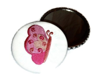 "Pink Butterfly Pocket Mirror Embroidered 3"" WIth full size glass mirror"
