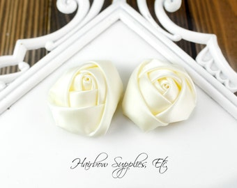 Ivory Mini Satin Rolled Flowers Rosettes 1-1/2 inch - Hairbow Supplies, Etc.
