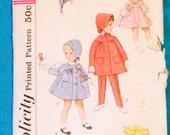 Vintage 50s 60s SIMPLICITY 4199 Childs Coat Pants and Bonnet Sz 2