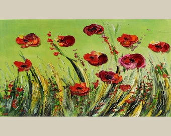 ORIGINAL Oil Painting Poppies 40 x 23 Palette Knife Textured Flowers Green Red Fresh New Sky Field  ART by Marchella