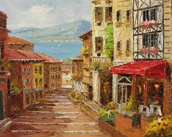 MADE2ORDER Original Oil Painting Palette Knife Cityscape  Village Sunny Street Shadows Sea Mediterranian Handmade wall home ART by Marchella