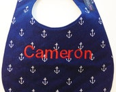 Monogrammed Baby Bib - Navy Blue Anchors - Nautical Bib - Personalized Bib - Etsykids Team - Patriotic - Red White and Blue