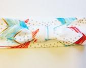 Knotted Headband - Coral, Aqua and Gold Arrows - Infant Headband - Jersey Knit Headband Organic Headband Organic Baby Headband Watercolor