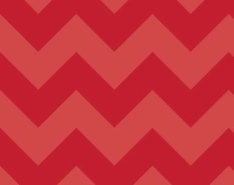 SALE - One Yard - Large Chevron in Red by Riley Blake - Tone on Tone