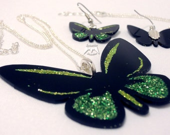 Elegant Lime Green Butterfly Large Pendant