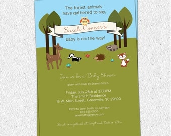 Printable Baby Shower Invitation, Woodland Animals Creatures Forest, Deer, Owl, Squirrel, Fox, Raccoon, Hedgehog, DIY digital tan