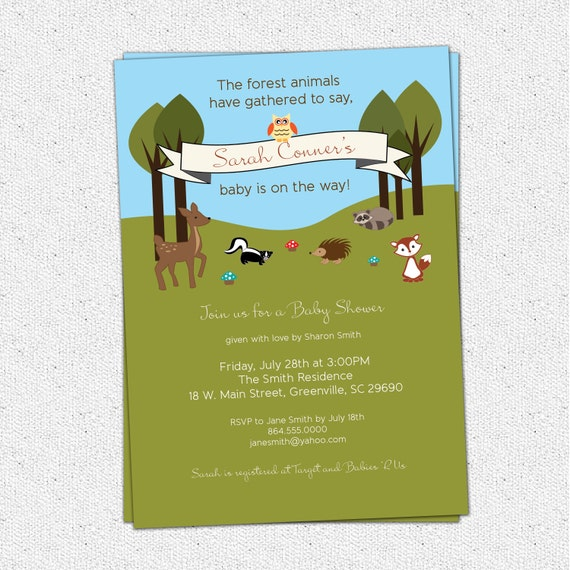 printable baby shower invitation woodland animals creatures forest