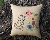 Bee Hand Embroidery Pillow, Vintage Retro, Summer Flowers Garden Decor, Bee collector gift, Colorful, Grandmother, mother, gardener, HAFAIR