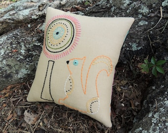 SALE Whimsical Squirrel Pillow, Colorful Unique Woodland Animal, tree, Hand Embroidery, Modern Mod, Bright Colors, orange pink olive cyan