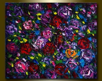 Roses Floral Original Painting Textured Palette Knife Oil on Canvas Contemporary Modern Art 20X24 by Willson Lau