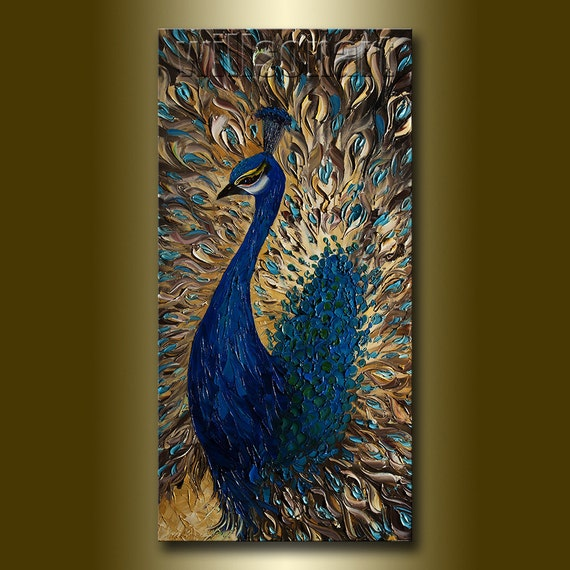 for d - 1st payment Original Peacock Oil Painting Textured Palette Knife Modern Animal Art 15X30 by Willson Lau