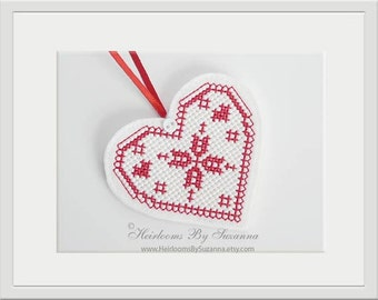 Snowflake In-The-Hoop Heart Ornament - Machine Cross Stitch Embroidery Design - Heart Design - Winter Holiday - 4x4 Hoop - Heart Snowflake