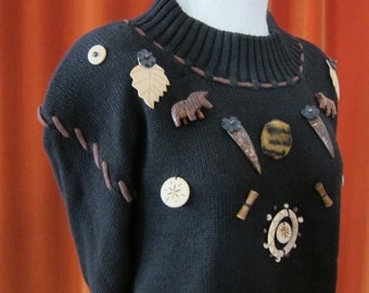 Vintage 80's Pierre Cardin Cotton Sweater Adorned with African Trinkets