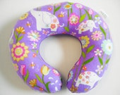 Purple Glitter Elephant Neck Travel Pillow with Purple Minky Dot for Children Toddler Baby SALE