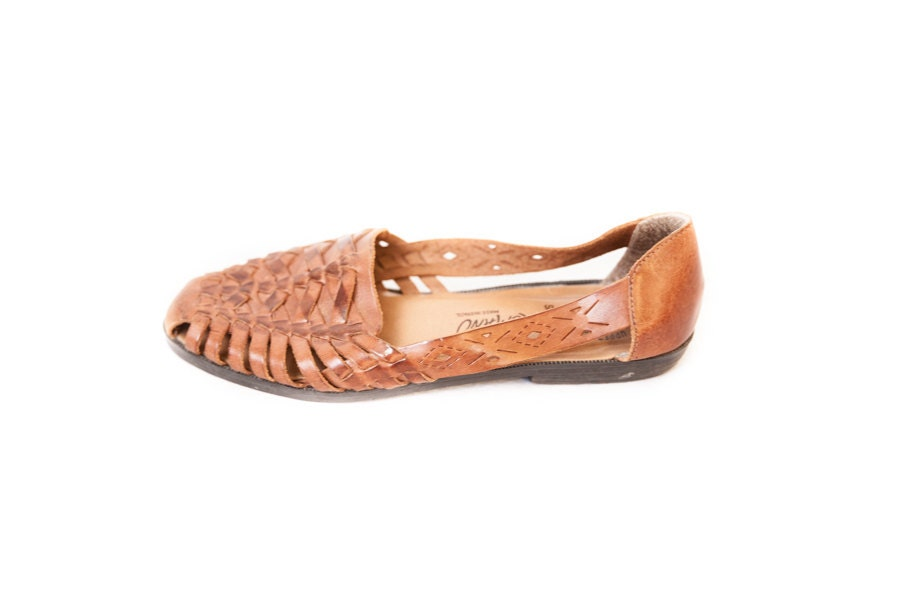 Women S Brown Woven Leather Huarache Sandals Size 6 5