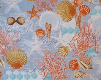 REMNANT--Coral and Blue Shell Collage Print Pure Cotton Fabric--17 INCHES