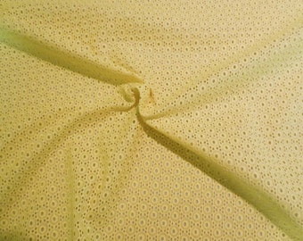 Acid Yellow Designer Allover Embroidered Eyelet Pure Cotton Fabric--One Yard