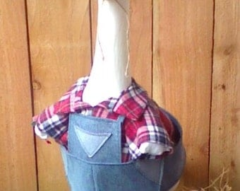 GOOSE CLOTHING - Goose 3 piece Farmer outfit for your lawn goose - Blue Jeans and Flannel - Plastic or Concrete Lawn Goose Clothing