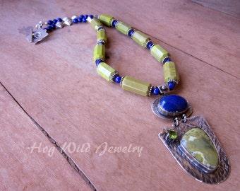 Artisan Gemstone Metalsmith Pendant Necklace, Handcrafted Silversmith Jewelry, Women's Gemstone Necklace