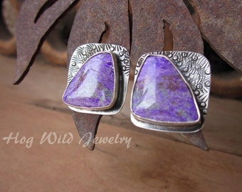 Purple Sugilite Artisan Sterling Silver Post Earrings