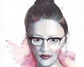 Original watercolor fashion illustration Girl with Ronsir retro glasses art