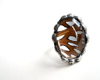 Nature Jewelry, Real Butterfly Wing, Cocktail Ring, Unusual Jewelry, Nature Lover, Insect Jewelry (1976)