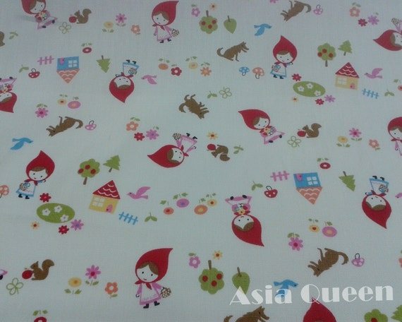 """Fairy tale - Little red riding hood in the house - half yard - cotton - beige - final 43*112 cm - Check out with code """"sale15"""" to save 15%"""