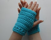 Hazel Wristlets in Turqua - Hand Wrist Warmers Fingerless Gloves Gauntlets Mittens - Ready to Ship - FREE US Shipping
