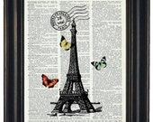 BOGO 1/2 OFF French Art Print Paris and Butterflies Dictionary Art Print Eiffel Tower and Butterflies on Vintage Dictionary Book Page
