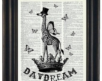 BOBO SALE Upcycled Art Daydream with this Giraffe Printed on a Vintage Dictionary Page 8 x 10