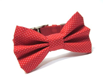 Bow Tie Dog Collar, Dog Bowtie- Red Pin Dots