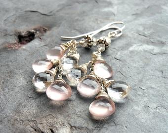 Crystal Rose Quartz Earrings Cascade Gemstone Earrings, Sterling Silver, Romantic Jewelry