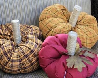Autumn Decor-Fabric Pumpkins-3 Plush Pumpkins-Thanksgiving Decorations-Fall Table Decor-Stuffed Fabric Pumpkins-Gold Cranberry Navy Pumpkins