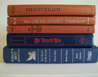 Vintage Book Collection Home Decor Instant Library Set of 5 Navy Blue and Copper Sienna Books Photo Prop Shelf Display Home or Wedding Decor