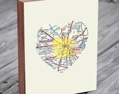 Houston Texas City Heart Map - Wood Block Art Print